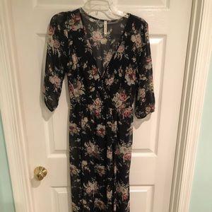 Orange Creek Black Floral Print Maxi Dress